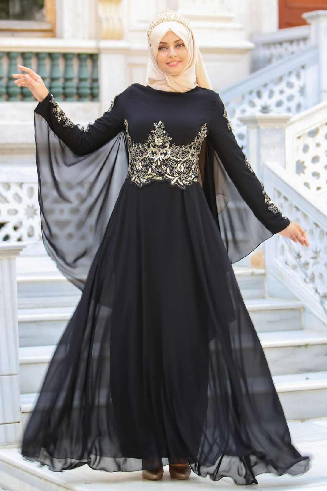 Siyah Tesettur Abiye Elbise Modelleri 3 - Siyah Tesettür Abiye Modelleri