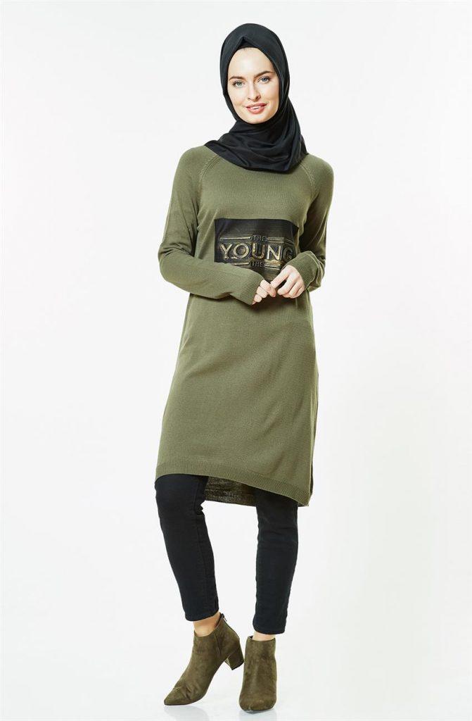 Tesettur Triko Elbise Modelleri 6