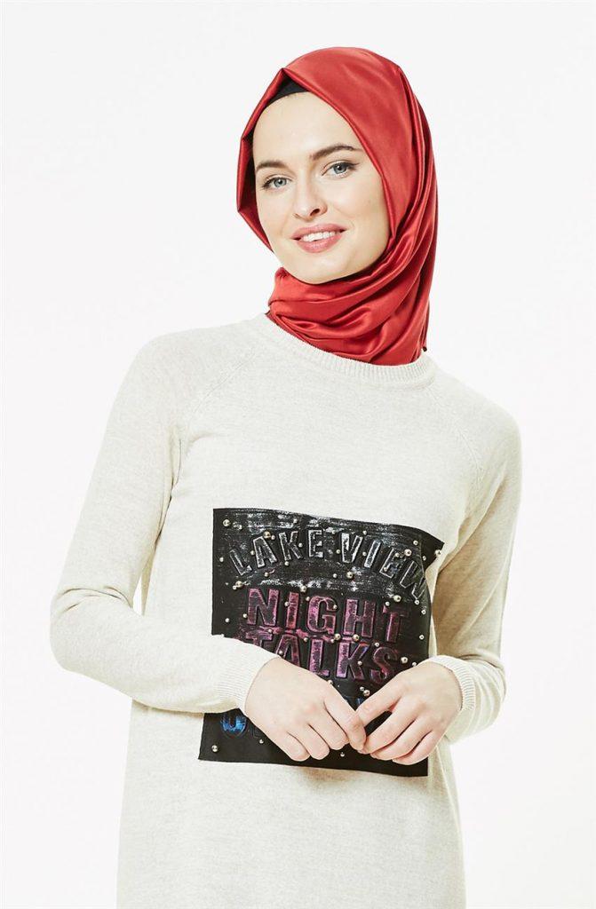 Tesettur Triko Elbise Modelleri 7