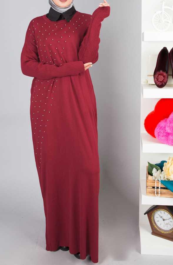 Tesettur Triko Elbise Modelleri incili