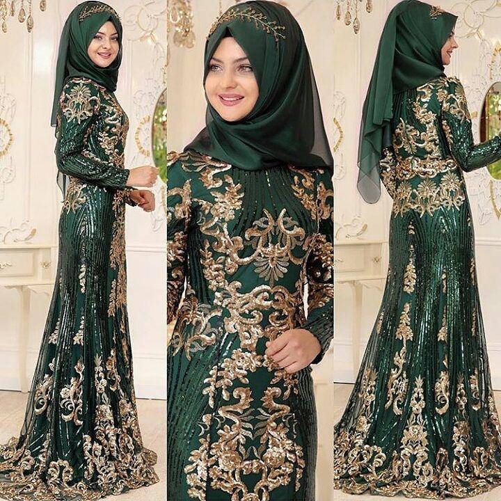 Tesettur Zumrut Nisanlik - 2018 En Güzel Tesettür Abiye Elbiseleri