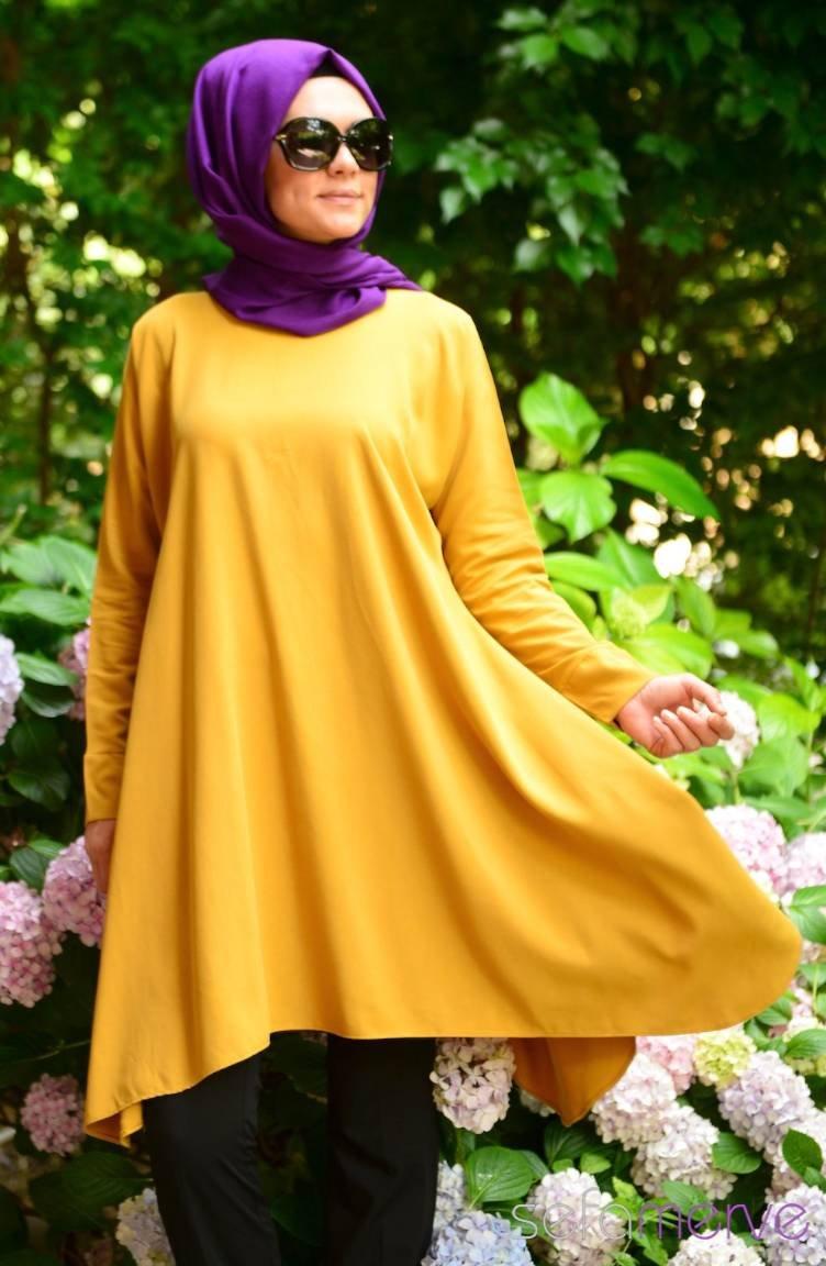 sefamerve sari tunik - 2018 Sefamerve Elbise Modelleri