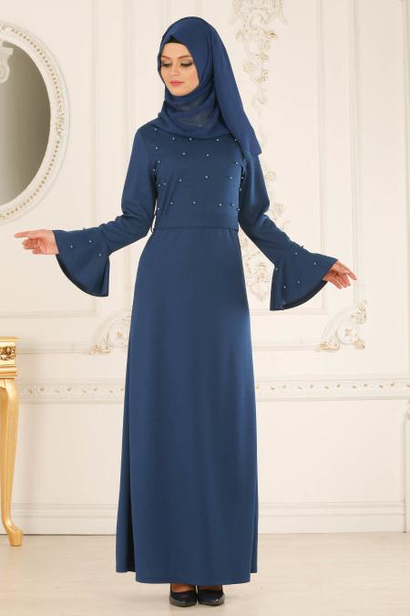 2018 Soz Abiye Elbise Modelleri-boncuk-detayli-petrol-mavisi-tesettur-elbise