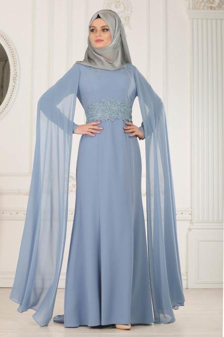 2018 Soz Abiye Elbise Modelleri dantel detayli mavi tesettur abiye elbise  - Tesettür Elbise