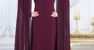 2018 Soz Abiye Elbise Modelleri pelerini piliseli murdum tesettur abiye elbise