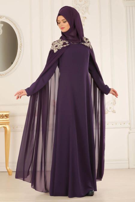 2018 Soz Abiye Elbise Modelleri-pelerinli-mor-tesettur-abiye-elbise