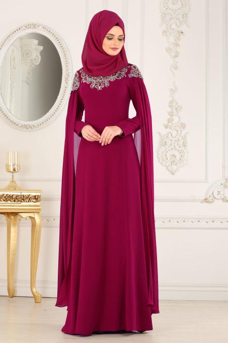 2018 Soz Abiye Elbise Modelleri tesetturlu abiye elbise tas detayli fusya - 2018 Tesettürlü Söz Abiye Elbise Modelleri