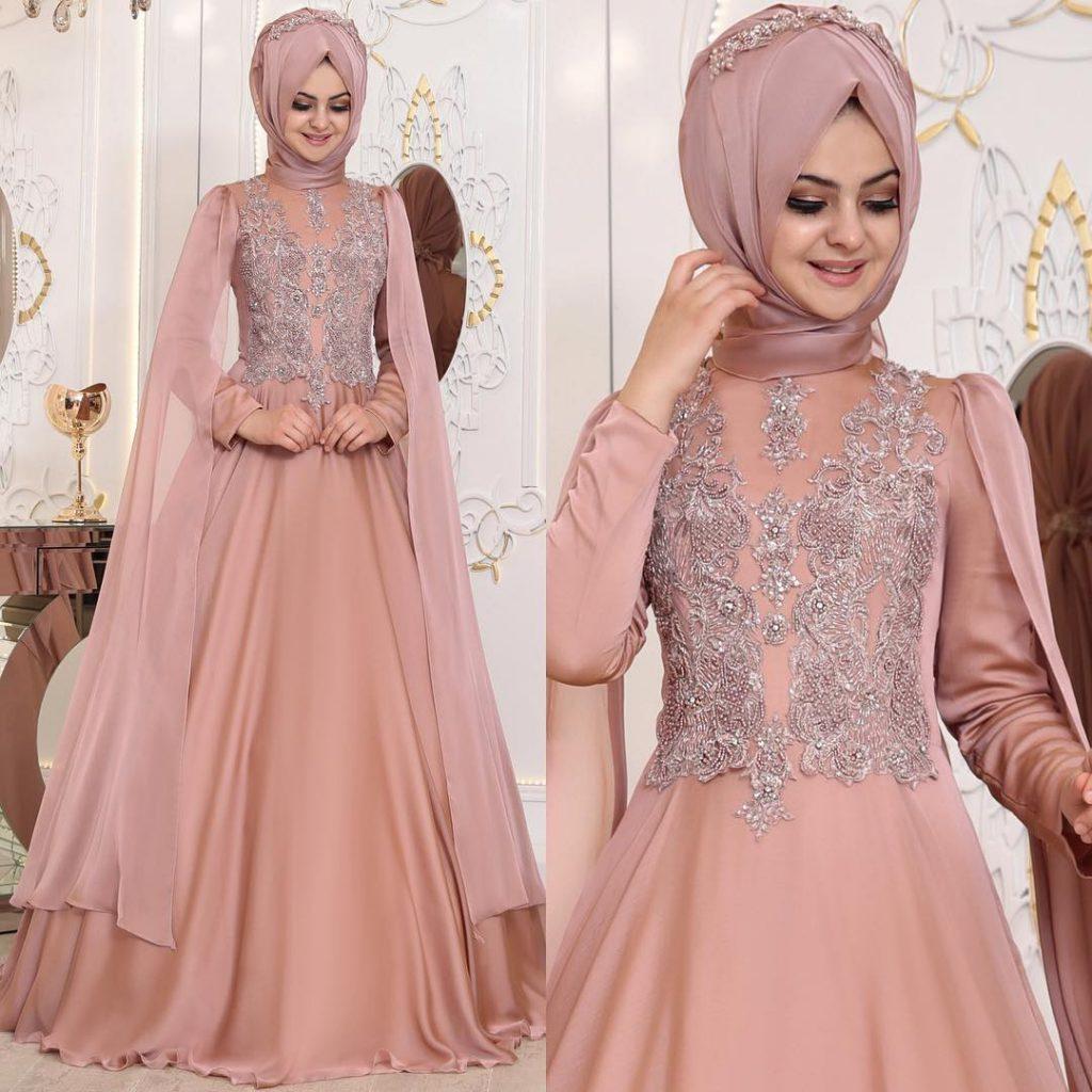 2018 Tesettur Elbise Modelleri Aysima Pudra