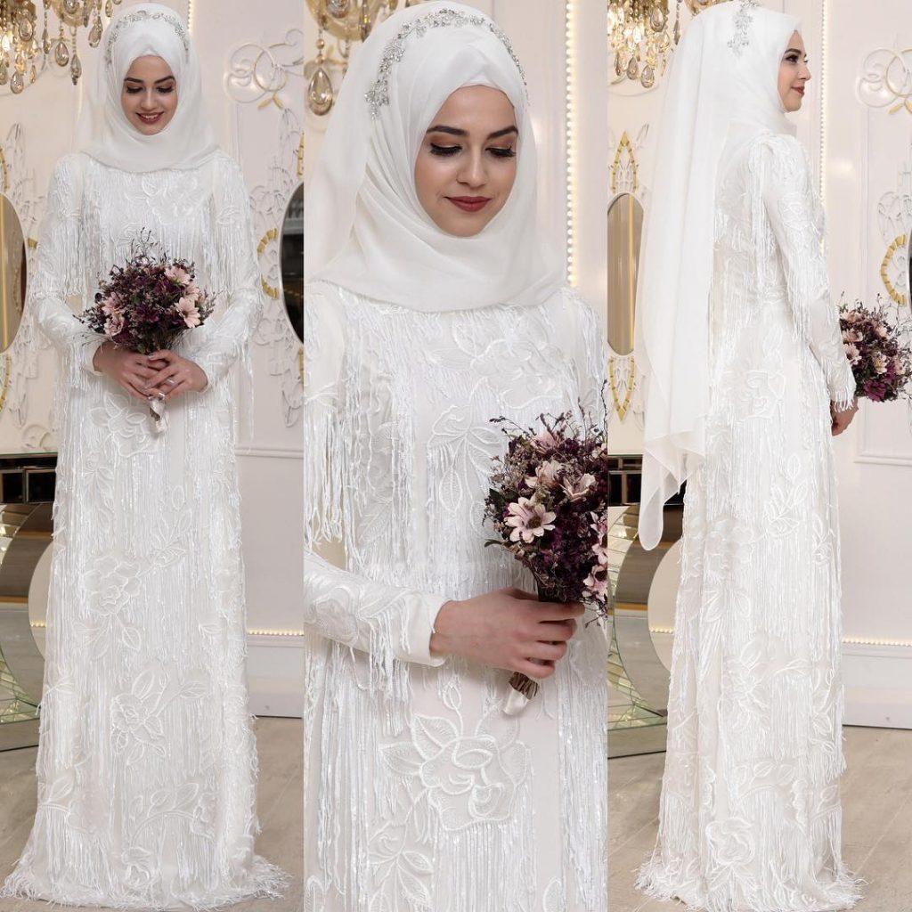 2018 Tesettur Elbise Modelleri Ekru