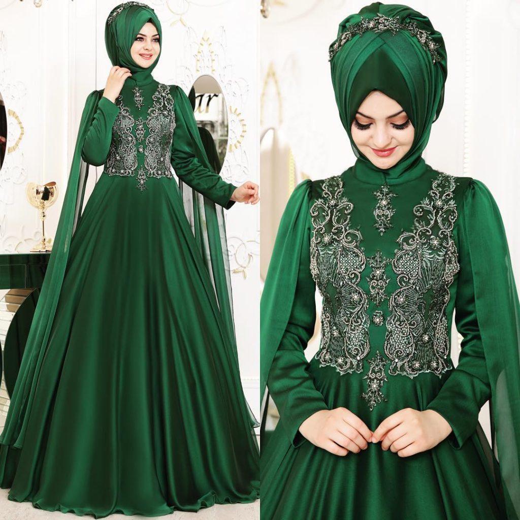 2018 Tesettur Elbise Modelleri Zumrut Yesili