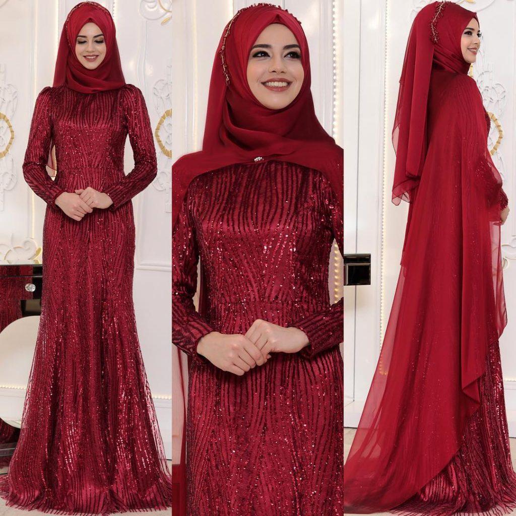 En Sik Pelerinli Tesettur Abiye Elbise Modelleri 1