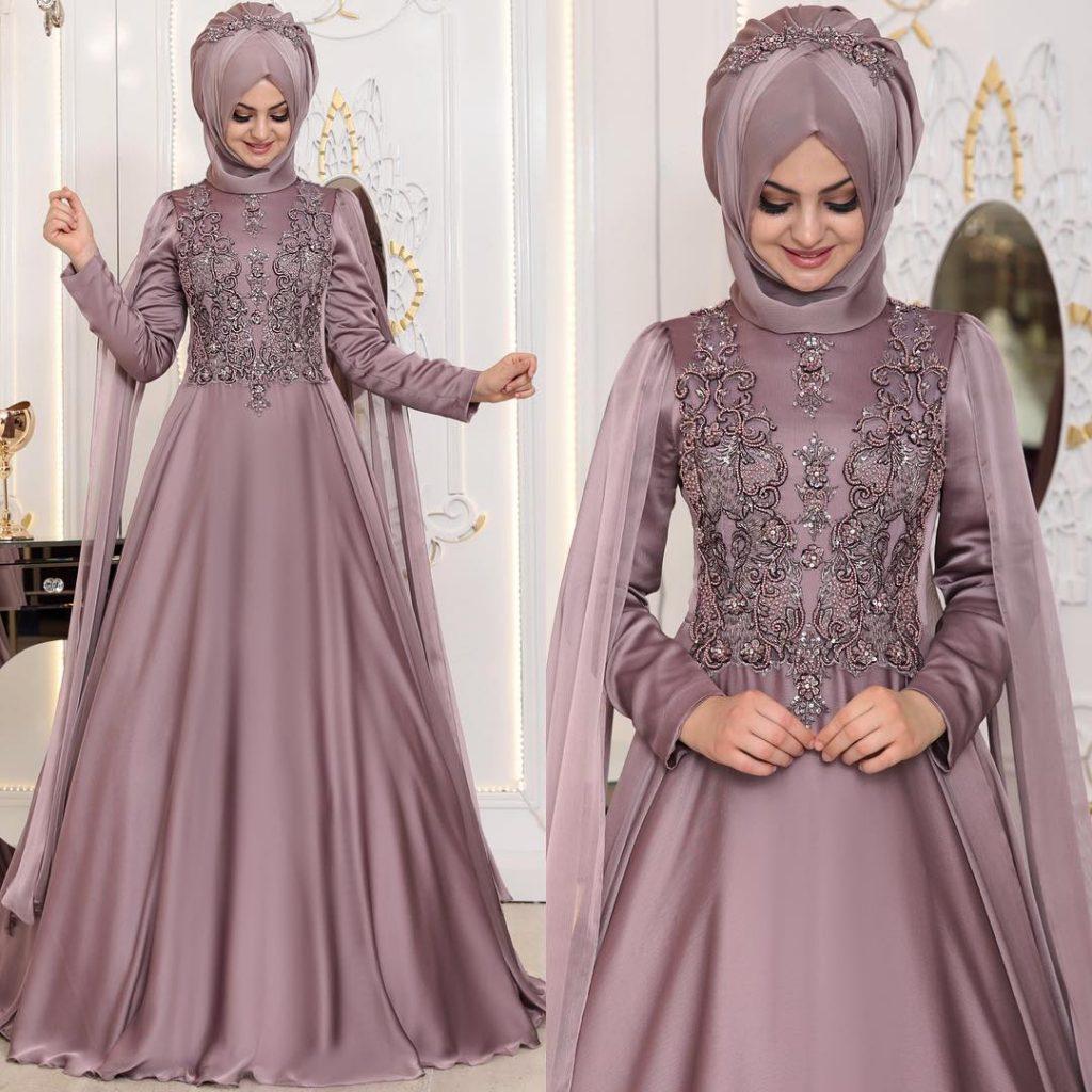 En Sik Pelerinli Tesettur Abiye Elbise Modelleri 2