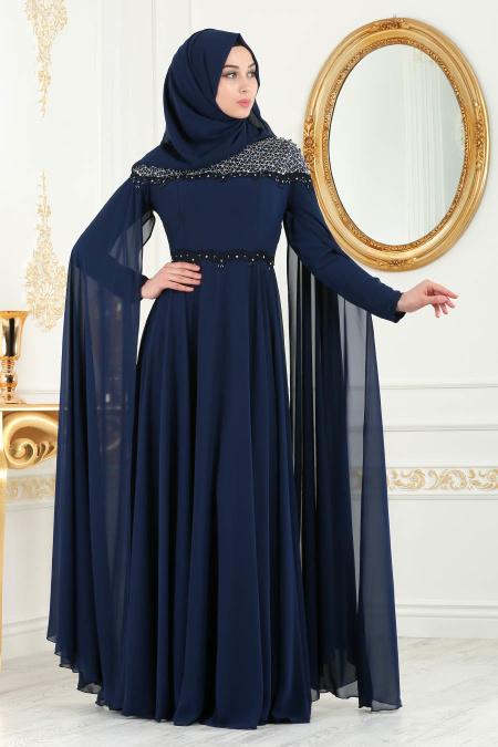 En Sik Pelerinli Tesettur Abiye Elbise Modelleri 5
