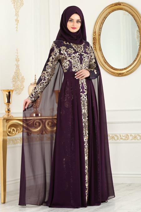 En Sik Pelerinli Tesettur Abiye Elbise Modelleri 6