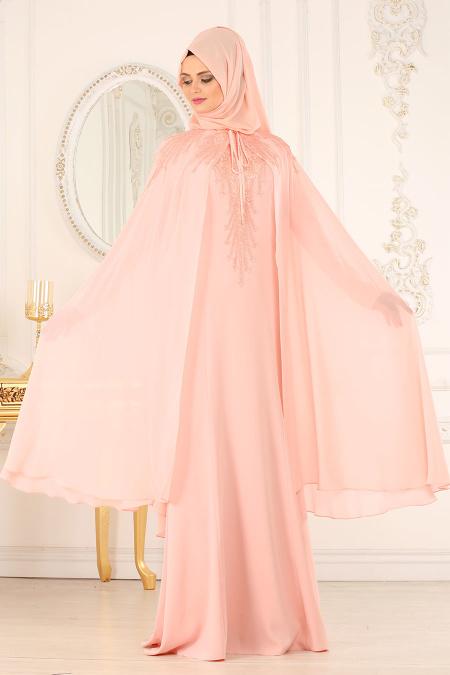 En Sik Pelerinli Tesettur Abiye Elbise Modelleri 7