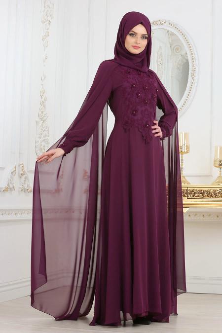 En Sik Pelerinli Tesettur Abiye Elbise Modelleri -onu-dantelli-pelerinli-murdum-t