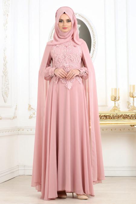 En Sik Pelerinli Tesettur Abiye Elbise Modelleri onu dantelli pelerinli pudra