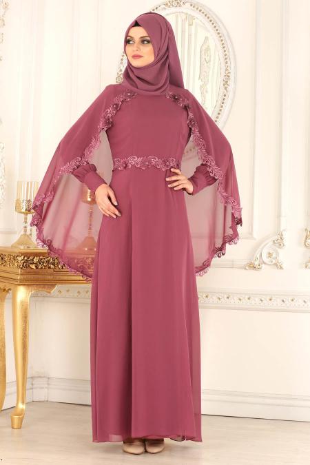 En Sik Pelerinli Tesettur Abiye Elbise Modelleri -pelerinli-gul-kurusu