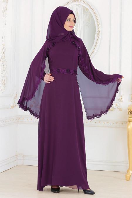 En Sik Pelerinli Tesettur Abiye Elbise Modelleri pelerinli mor - Tesettür Elbise