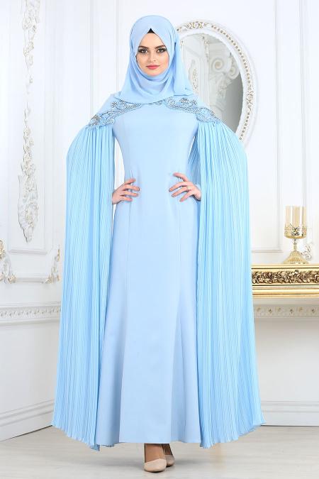 En Sik Pelerinli Tesettur Abiye Elbise Modelleri piliseli bebek mavisi - Tesettür Elbise