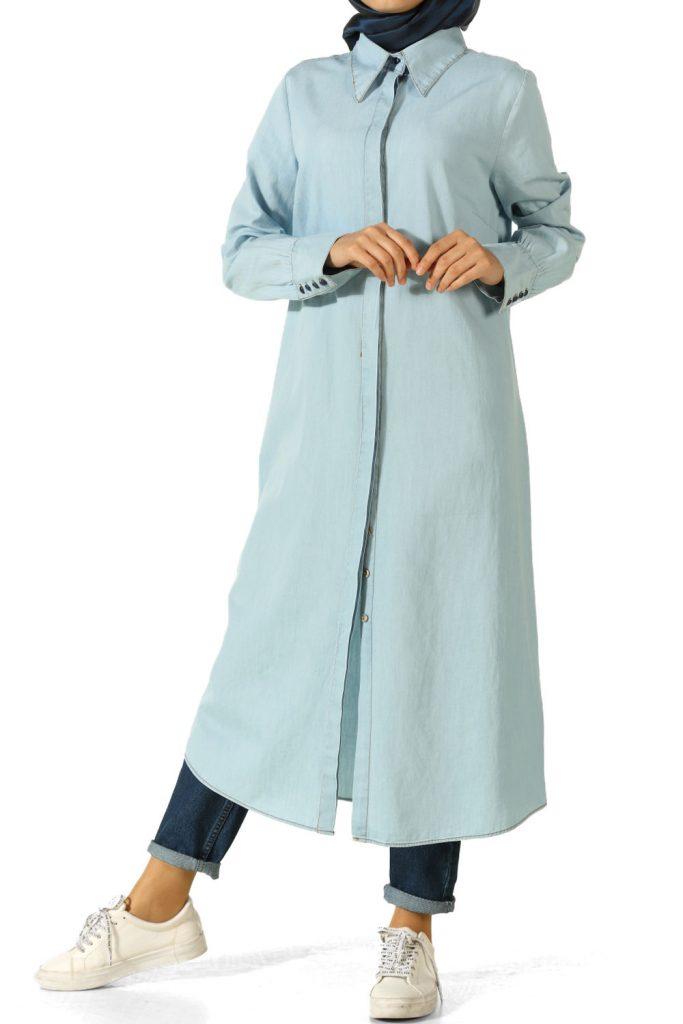 En Sik Tesettur Genc Giyim Modelleri gizli patli kot tunik 683x1024 - En Şık 2018 Tunik Modelleri