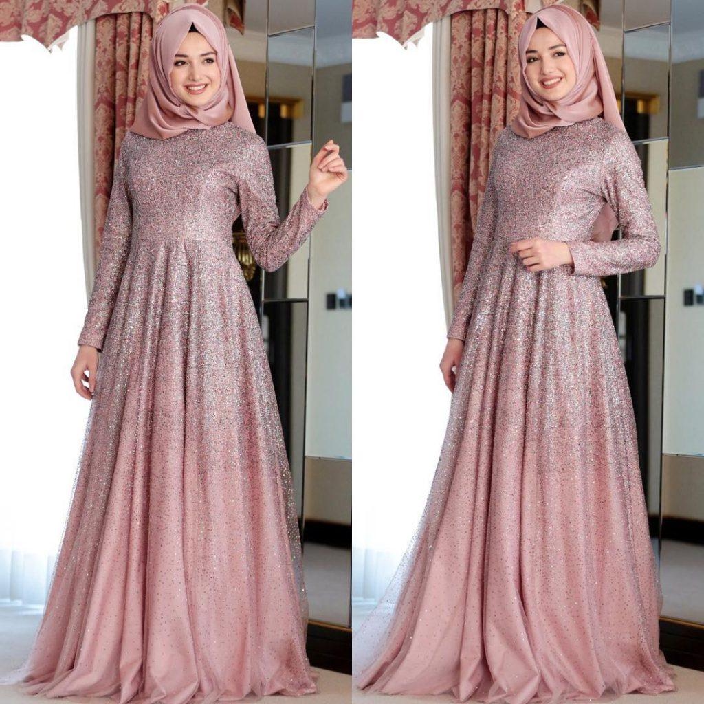 Simli Tesettür Abiye Elbise Modelleri