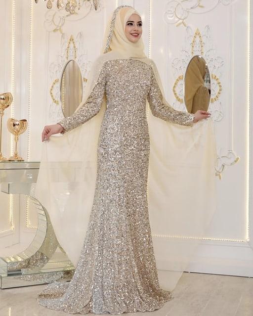 Simli Tesettür Abiye Elbise Modelleri 2
