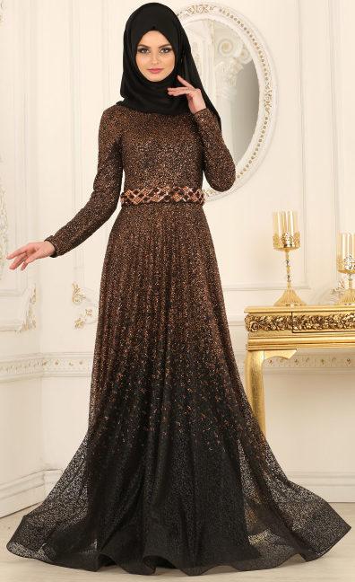 Simli Tesettür Abiye Elbise Modelleri 4