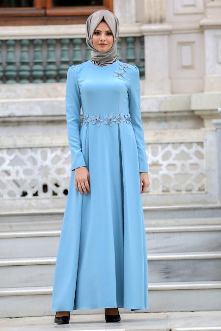 Tesettur Elbisesi cicek detayli bebek mavisi tesettur elbise - Tesettür Elbise