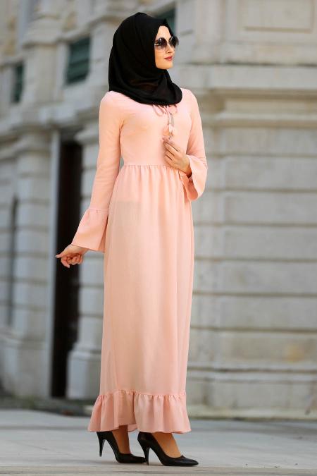Tesettur Elbisesi firfirli somon tesettur elbise  - Tesettür Elbise