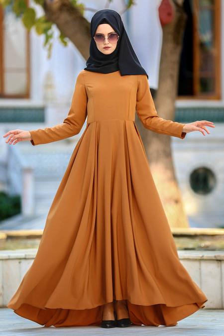 Tesettur Elbisesi hardal tesettur elbise - Tesettür Elbise