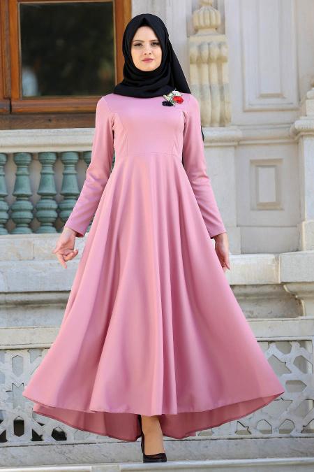 Tesettur Elbisesi nakisli gul kurusu tesettur elbise - Tesettür Elbise