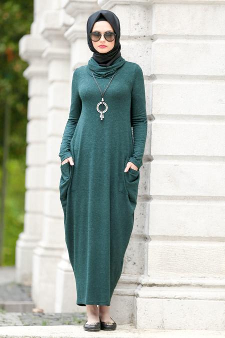 Tesettur Elbisesi-yakali-yesil-tesettur-elbise