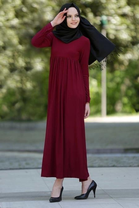 Tesettur Hamile Abiye Elbise Modelleri afra buzgulu bordo elbise - Tesettür Hamile Abiye Elbise Modelleri