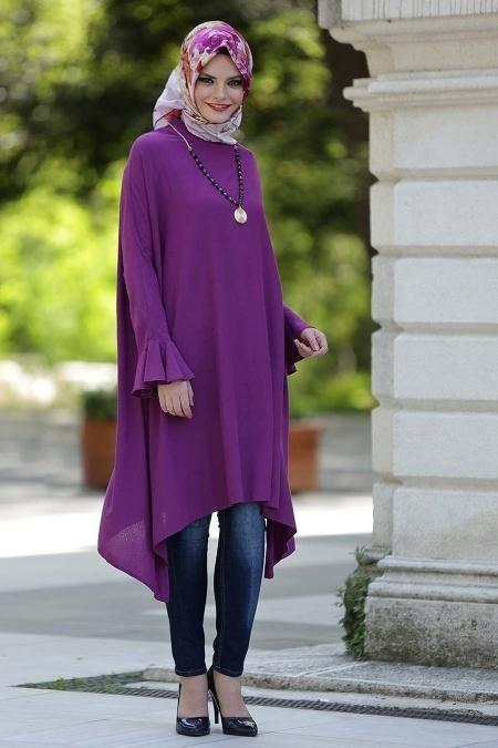 Tesettur Hamile Abiye Elbise Modelleri firfirli mor tunik - Tesettür Hamile Abiye Elbise Modelleri