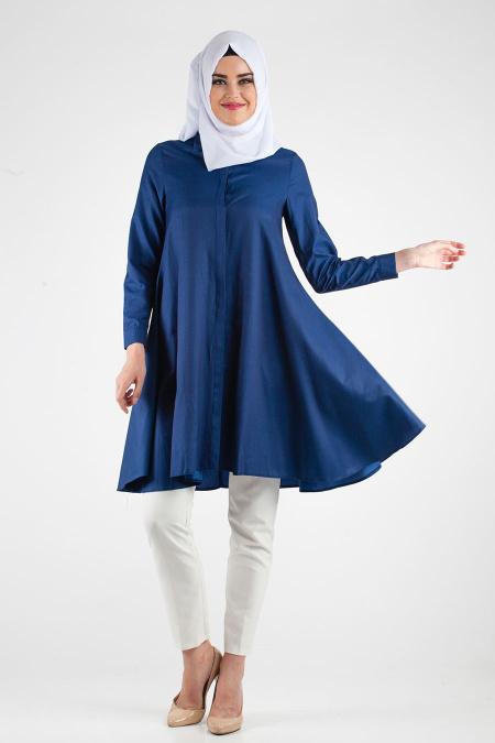 Tesettur Hamile Abiye Elbise Modelleri lacivert tunik - Tesettür Hamile Abiye Elbise Modelleri