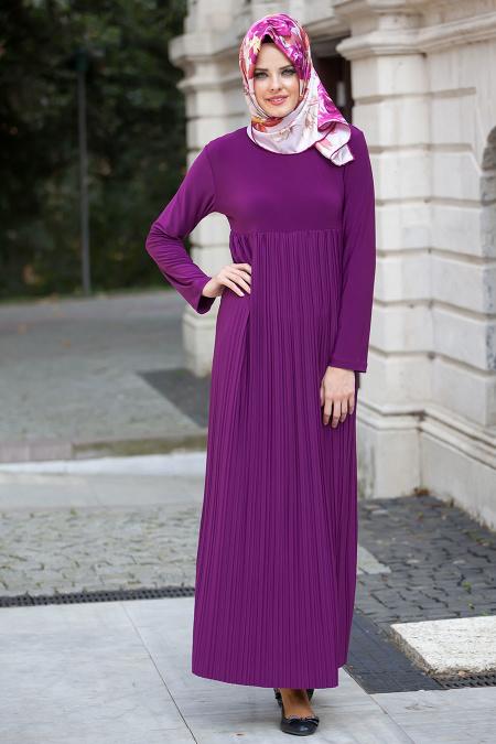 Tesettur Hamile Abiye Elbise Modelleri pliseli fusya elbise - Tesettür Hamile Abiye Elbise Modelleri
