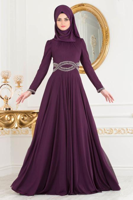 2018 Defacto Tesettur Abiye Elbise Modelleri-beli-tasli-mor