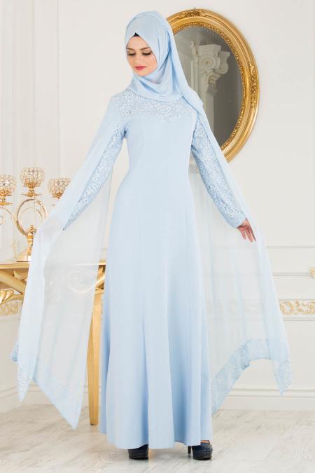 2018 Defacto Tesettur Abiye Elbise Modelleri-pelerinli-bebe-mavisi