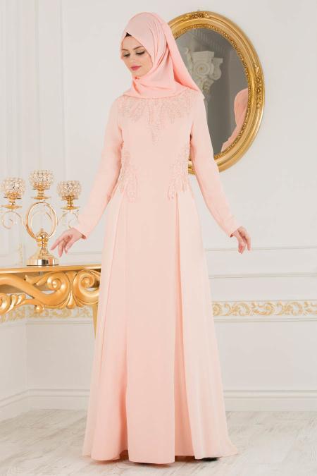 2018 Defacto Tesettur Abiye Elbise Modelleri-somon