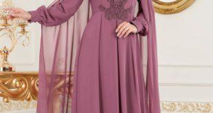 2018 Defacto Tesettur Abiye Elbise Modelleri tasli gul kurusu