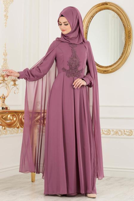 2018 Defacto Tesettur Abiye Elbise Modelleri-tasli-gul-kurusu