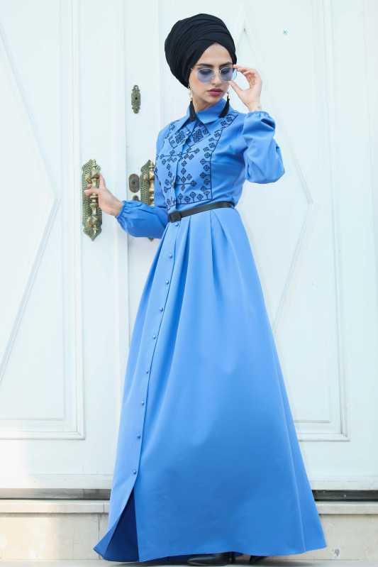2018 Genc Tesettur Abiye Elbise Modelleri elbise mavi - 2018 Genç Tesettür Abiye Elbise Modelleri