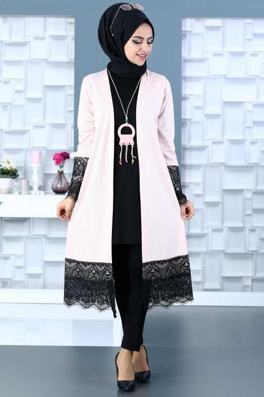 2018 Genc Tesettur Abiye Elbise Modelleri hirka tunik kolye kombin somon - 2018 Genç Tesettür Abiye Elbise Modelleri