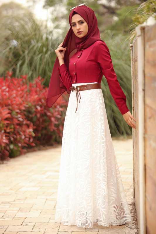 2018 Genc Tesettur Abiye Elbise Modelleri tul detay elbise bordo beyaz - 2018 Genç Tesettür Abiye Elbise Modelleri