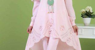 2018 Genc Tesettur Abiye Elbise Modelleri tunik pantalon sal kolye kombin pudra