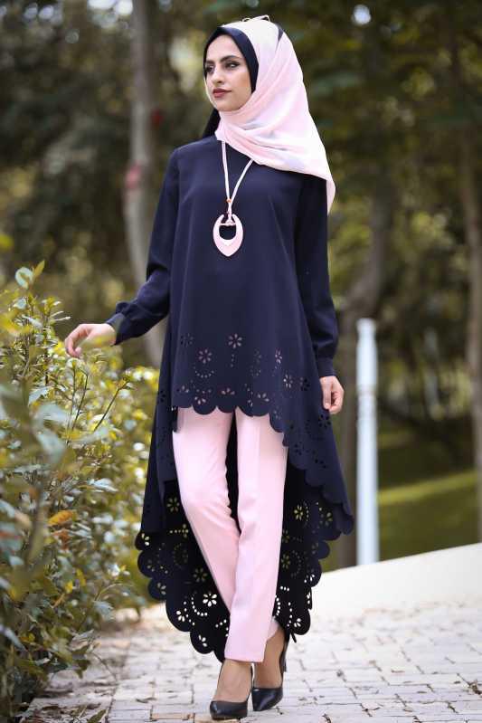 2018 Genc Tesettur Abiye Elbise Modelleri tunik pantolon sal kolye kombin laci pudra - 2018 Genç Tesettür Abiye Elbise Modelleri