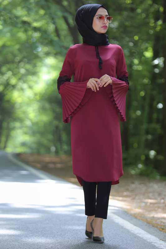 2018 Genc Tesettur Abiye Elbise Modelleri-tunik-pantolon-sal-kombin-bordo-siyah-14031-98-B