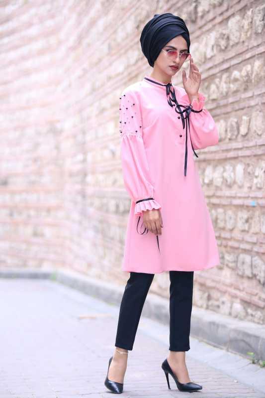 2018 Genc Tesettur Abiye Elbise Modelleri tunik pantolon sal kombin pembe siyah - 2018 Genç Tesettür Abiye Elbise Modelleri