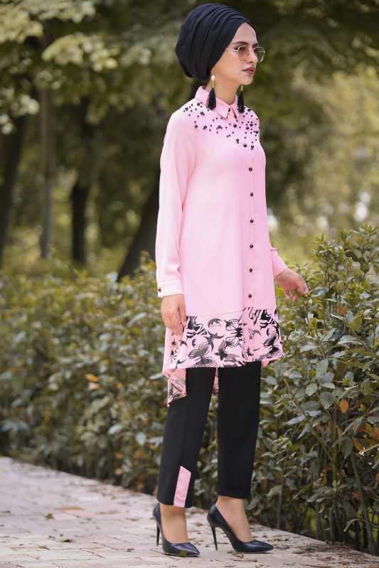 2018 Genc Tesettur Abiye Elbise Modelleri-tunik-pantolon-sal-kombin-pudra-siyah-14859-10-B